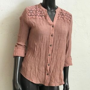 Illusion sheer mesh embroidered crinkle gauze top